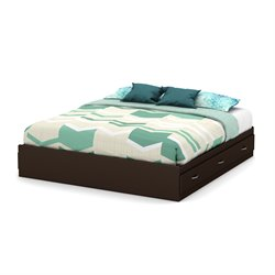 South Shore Step One King Platform Bed in Chocolate