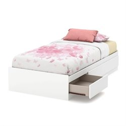 South Shore Callesto Twin Mates Bed in Pure White
