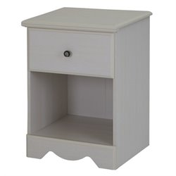 South Shore Country Poetry 1 Drawer Night Stand in White Wash