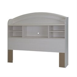 South Shore Country Poetry Full Bookcase Headboard in White Wash