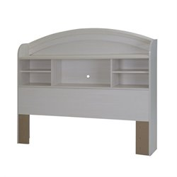 Country Poetry Bookcase Headboard in White Wash