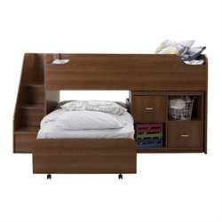 South Shore Mobby Twin Storage Loft Bed with Trundle in Morgan Cherry
