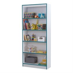South Shore Axess 5 Shelf Bookcase in Pure White and Turquoise