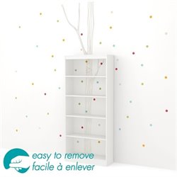 South Shore Axess 5 Shelf Tree and Dots Decal Bookcase in White