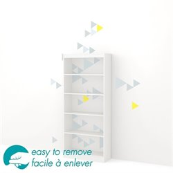 South Shore Axess 5 Shelf Funny Triangle Decal Bookcase in White