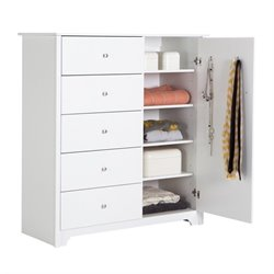 South Shore Vito 5 Drawer Chest in Pure White