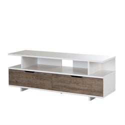 South Shore Reflekt TV Stand in Weathered Oak and Pure White