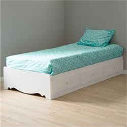 Crystal Twin Mates Bed with Duvet Cover in Pure White
