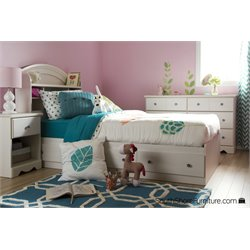 South Shore Country Poetry 3 Drawer Twin Bookcase Bed in White Wash
