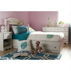 South Shore Country Poetry 4 Piece Twin Bedroom Set in White Wash