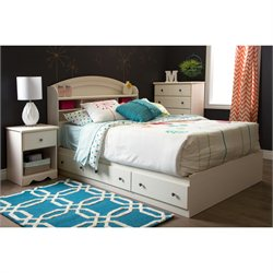 South Shore Country Poetry 4 Piece Full Bedroom Set in White Wash
