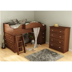 South Shore Imagine 2 Piece Twin Loft Bedroom Set in Morgan Cherry