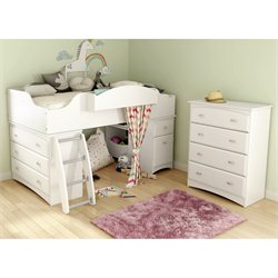 South Shore Imagine 2 Piece Twin Loft Bedroom Set in Pure White