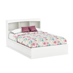 South Shore Full Bookcase Storage Bed in Pure White