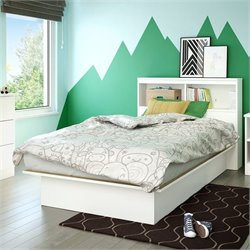 South Shore Libra Twin Bookcase Platform Bed in Pure White