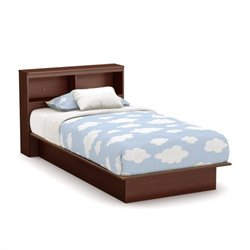 South Shore Libra Twin Bookcase Platform Bed in Royal Cherry