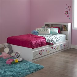 South Shore Joy Wood Twin Flower Decal Storage Bed in White