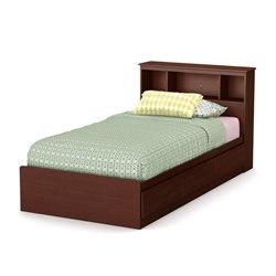 South Shore Summer Breeze Wood Twin Bookcase Storage Bed in Cherry