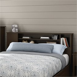 South Shore Fusion Wood Full Queen Bookcase Headboard in Chocolate