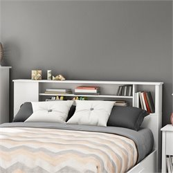 South Shore Fusion Wood Full Queen Bookcase Headboard in White