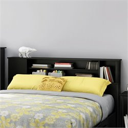 South Shore Fusion Wood Full Queen Bookcase Headboard in Black