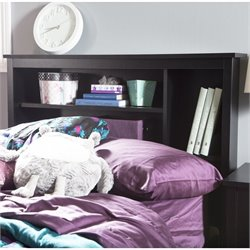 South Shore Fusion Wood Twin Bookcase Headboard in Black