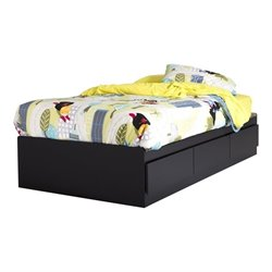 South Shore Fusion Twin Mates Bed in Pure Black