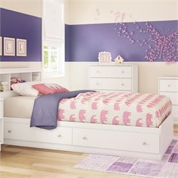 South Shore Litchi Wood Twin Mates Bed in White