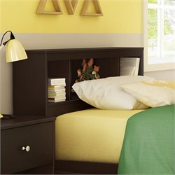 South Shore Litchi Wood Twin Bookcase Headboard in Chocolate