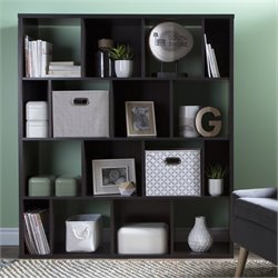 South Shore Reveal 16 Cubby Wood Bookcase in Chocolate with 2 Baskets
