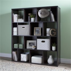 South Shore Reveal 16 Cubby Wood Bookcase in Chocolate