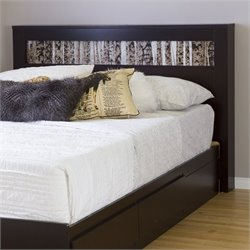 South Shore Vito Wood Full Queen Birch Panel Headboard in Chocolate