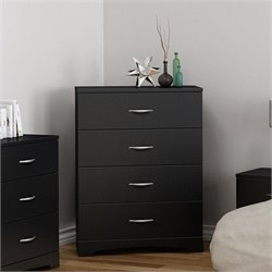 South Shore Step One 4 Drawer Wood Chest in Black