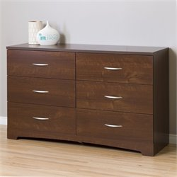 South Shore Step One 6 Drawer Wood Double Dresser in Sumptuous Cherry