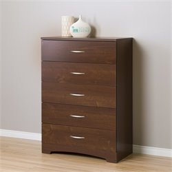 South Shore Step One 5 Drawer Wood Chest in Sumptuous Cherry