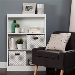 Axess Wood Bookcase in White with 2 Baskets