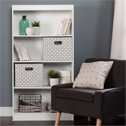 South Shore Axess 4 Shelf Wood Bookcase in White with 2 Baskets