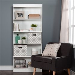 South Shore Axess 5 Shelf Wood Bookcase in White with 2 Baskets