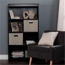 South Shore Axess 4 Shelf Wood Bookcase in Black with 2 Baskets