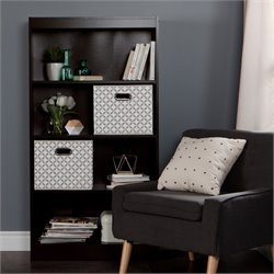 South Shore Axess 4 Shelf Wood Bookcase in Chocolate with 2 Baskets