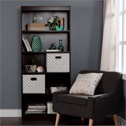 South Shore Axess 5 Shelf Wood Bookcase in Chocolate with 2 Baskets