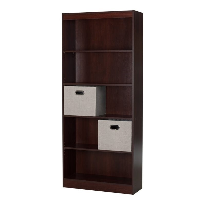 south shore axess 5 shelf wood bookcase in royal cherry. Black Bedroom Furniture Sets. Home Design Ideas