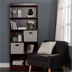 South Shore Axess 5 Shelf Wood Bookcase in Royal Cherry with 2 Baskets