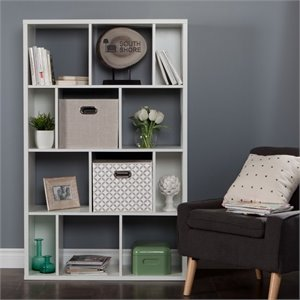 Reveal Cubby Wood Bookcase in White with 2 Baskets