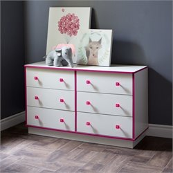South Shore Logik 6 Drawer Wood Double Dresser in White and Pink
