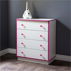 South Shore Logik 4 Drawer Wood Chest in White and Pink
