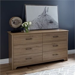 South Shore Fusion 6 Drawer Wood Double Dresser in Rustic Oak