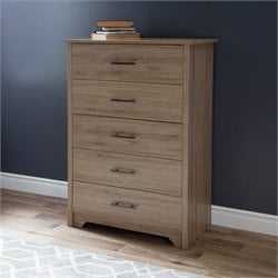 South Shore Fusion 5 Drawer Wood Chest in Rustic Oak
