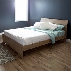 South Shore Vito Queen Wood Platform Bed in Rustic Oak