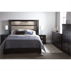 South Shore Gloria 5 Piece Queen Bedroom Set in Chocolate and Oak